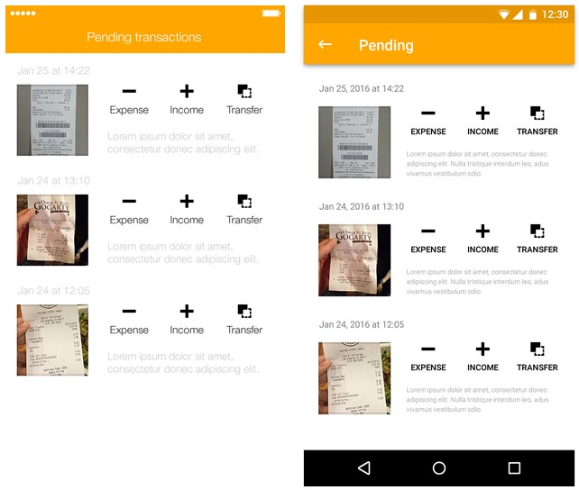 iOS and Android application screenshots